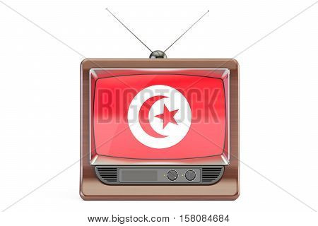 old tv with flag of Tunis. Tunisia Television concept 3D rendering