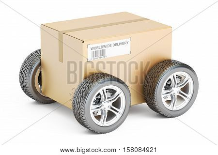 Parcel with wheels fast shipping concept. 3D rendering isolated on white background