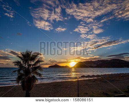 Agios Georgios beach sunset on Corfu Greek island