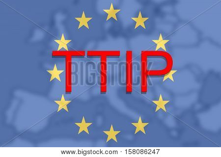 Ttip - Transatlantic Trade And Investment Partnership On Europe Euro Union Background