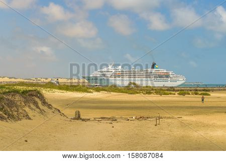 NATAL BRAZIL JANUARY - 2016 - Big cruise reaching the coast of beach in Natal Brazil