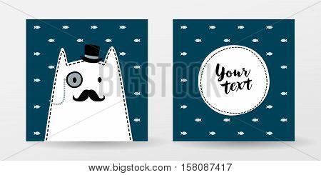 Cat gentleman. Monocle, Hat, Mustache, Hipster character. Cute vector color illustration for print textile, shirt, pillow, vintage greeting card. Picture for children room interior. Scandinavian style