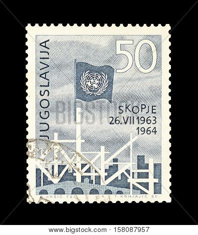 YUGOSLAVIA - CIRCA 1964 : Cancelled stamp printed by Yugoslavia, that shows Earthquake in Skopje.