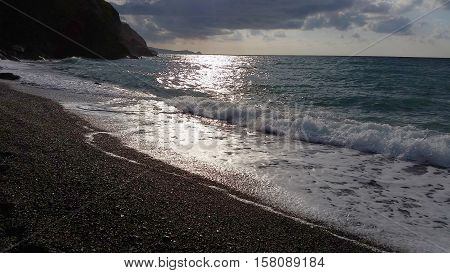 Evening sunset on sea at Sicily at Italy