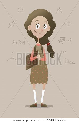 Vector illustration of a clever pre schoolgirl with book