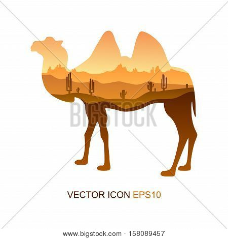 Camel, vector icon, logo, icon flat. Vector illustration. Picture camel.