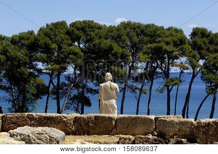Sculpture of Asklepios ruins of Empuries L'Escala Girona Catalonia Spain