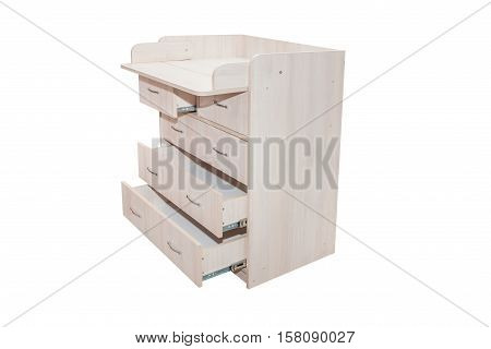 Furniture. Wooden Chest Of Drawers On A White