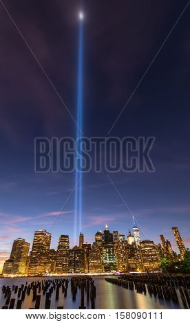 September 11th memorial Tribute in Lights, Manhattan, New York