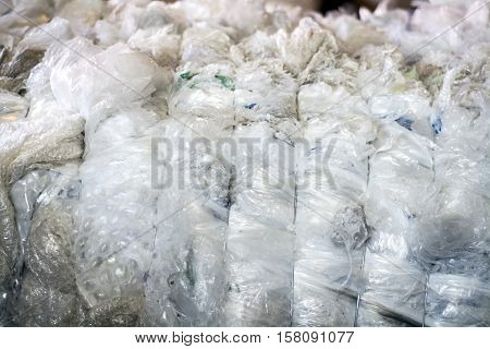 plastic bags baled ready to be recycling
