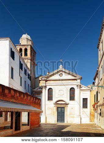 Facade Of The San Simeone Profeta Church In Venice, Italy