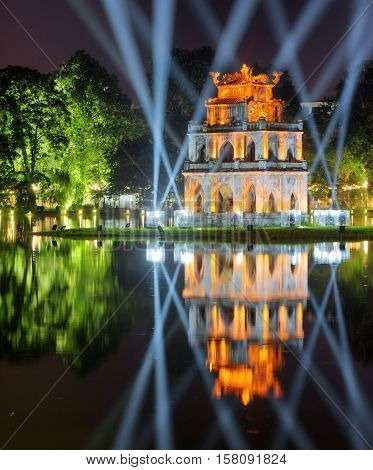 Night View Of The Turtle Tower On The Hoan Kiem Lake, Hanoi
