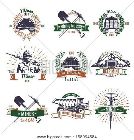Mining industry colored emblems set with pit tools and truck ribbons rays and wreaths isolated vector illustration