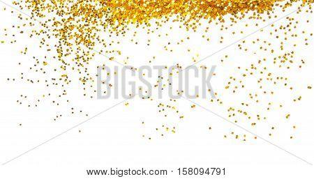 golden glitter sparkle frame background on white