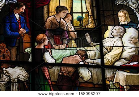 Old Man On His Deathbed - Stained Glass