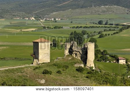 castle and wall in Santa Gadea del Cid in Burgos province Castilla-Leon Spain