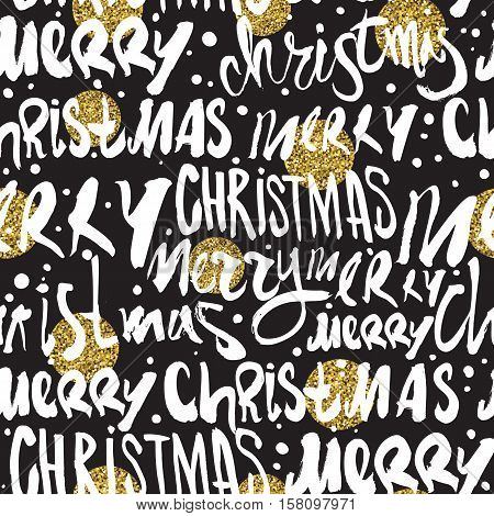 Seamless Merry Christmas pattern. Festive Happy New Year gold glittering lettering design. Vector youth contemporary illustration