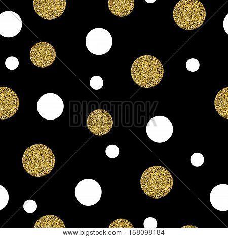 Festive Seamless Pattern with Gold dots. Polka, Dot, Small Chaotic Point