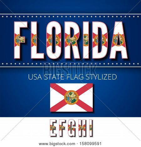 Florida USA state flag font. Alphabet characters stylized by state flag. Vector typeset part 2, letters e-i