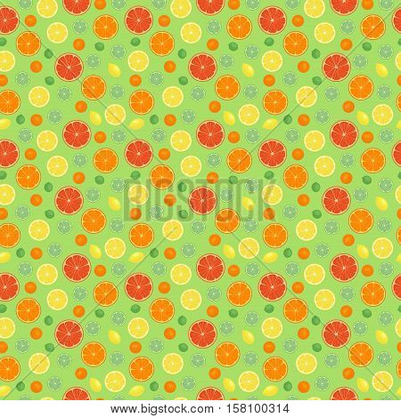 Cartoon fresh fruits in flat style. orange seamless pattern. Fruits seamless patterns food summer design wallpaper vector.