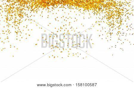 golden sparkle glitter frame background on white