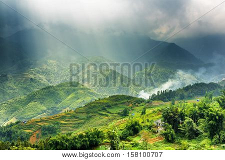 Rays Of Sunlight Through Storm Clouds At Highlands, Vietnam