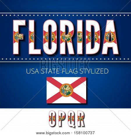 Florida USA state flag font. Alphabet characters stylized by state flag. Vector typeset part 4, letters o-r