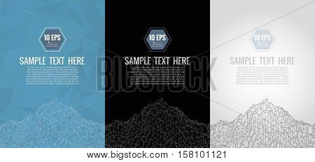 Polygonal abstract wireframe background with chromatic aberration effect on three color set background