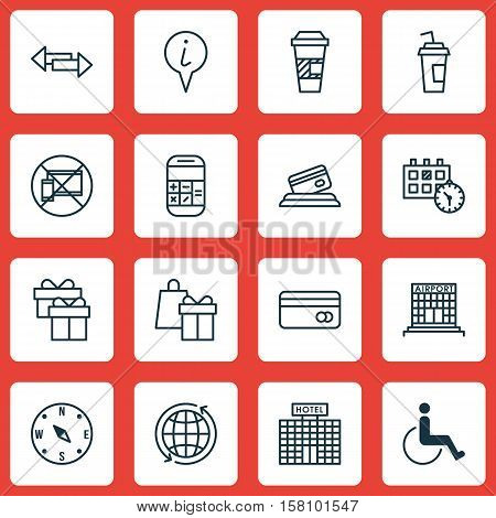 Set Of Transportation Icons On Forbidden Mobile, Calculation And World Topics. Editable Vector Illus