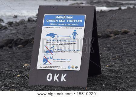 don't disturb sea turtles sign at Punaluu Black Sand Beach, Big Island, Hawaii