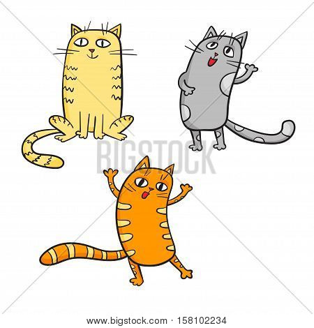 Vector set of cute cartoon cats in various poses.