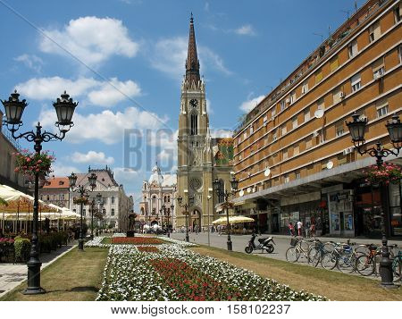 Novi Sad, Serbia - June 27,2012: People enjoy walking and socializing on the main square of the city, the future European capital of culture in 2021.