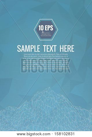 Polygonal abstract wireframe background with chromatic aberration effect on turquoise background