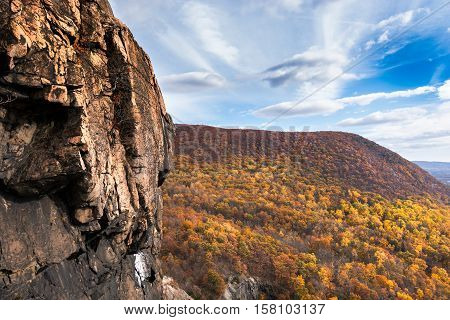 View of the Hudson Highlands above the Hudson River. Cold Spring New York