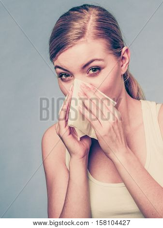 Sick Woman Using Paper Tissue, Headcold Problem