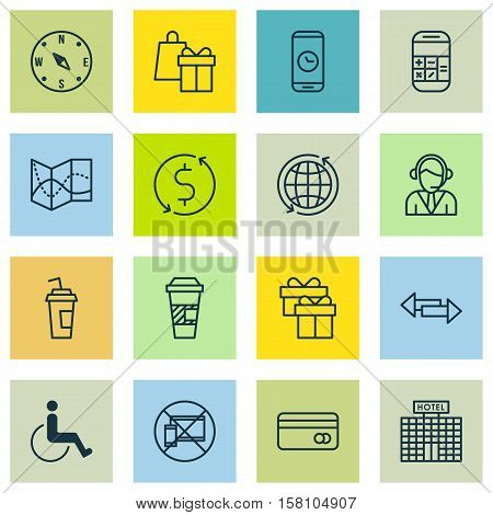 Set Of Airport Icons On Road Map, Locate And Hotel Construction Topics. Editable Vector Illustration