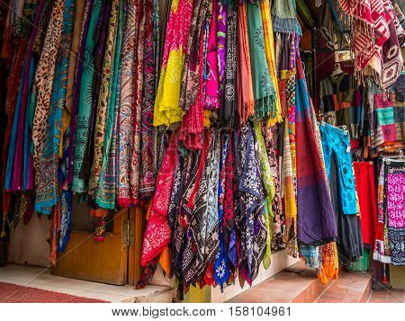 Multicolored scarves displayed by street vendor in Nepal