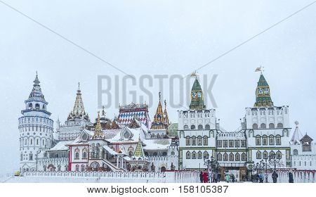 Beautiful view of kremlin in Izmailovo in winter snow , Moscow, Russia