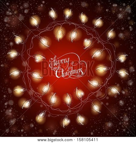 Christmas frame with luminous electric garland. Vintage Holiday background. Greeting card. Vector illustration.