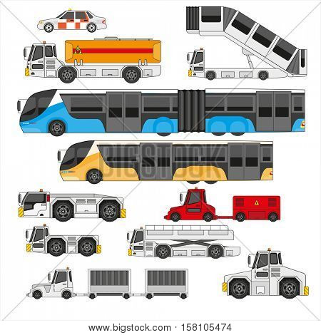 Airport ifrastructure transportation flat set. Different types of transport on the airfield, isolated airport equipment.