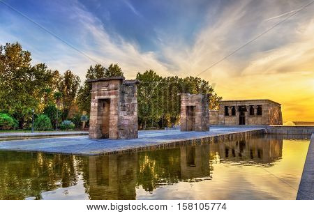 Sunset over the The Temple of Debod in Madrid - Spain