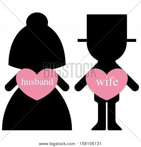 Vector bride and groom with lovers in hearts infographics element