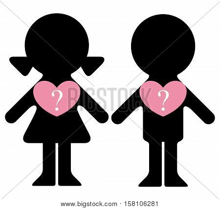 Vector boy and girl with questions in hearts infographics element