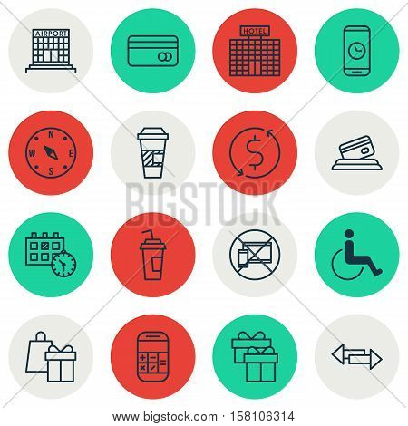 Set Of Transportation Icons On Locate, Airport Construction And Crossroad Topics. Editable Vector Il