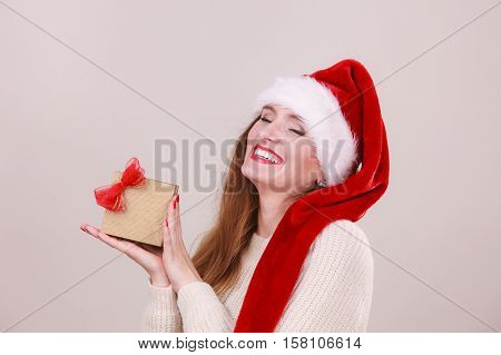 Christmas Girl With Small Gift.