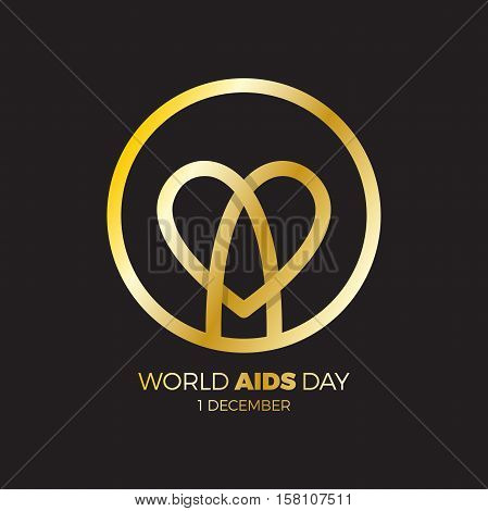 World Aids Day. Awareness, Red Ribbon In Heart. Hiv Sti. Logo Vector. Letter A In Heart Symbol