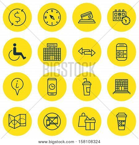Set Of Airport Icons On Forbidden Mobile, Credit Card And Locate Topics. Editable Vector Illustratio