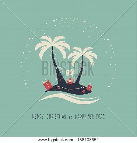The cover design. Depicts two palm trees, ocean, crab in Santa Claus hat, garland of candles, presents on the sand , starfish. The phrase merry christmas and happy new year.