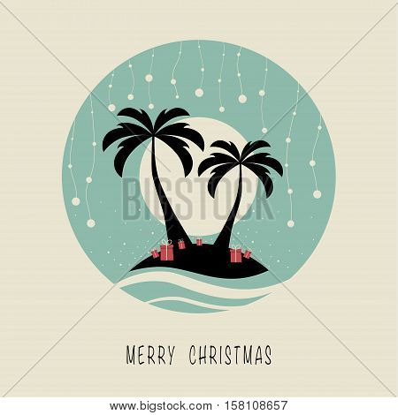The cover design. Depicts two palm trees, ocean, presents on the sand, a garland of balls of snow and sun in the background. The phrase merry christmas.