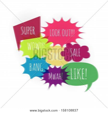 Set text speech bubble icons color glitch style white background. Banner text design vsh effect, glitch, noise people presentation communication, web banner. Vector illustration text cloud glitch.